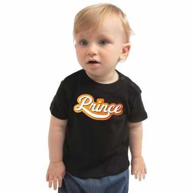 Goedkope koningsdag shirt prince voor peuter / kinderen zwart