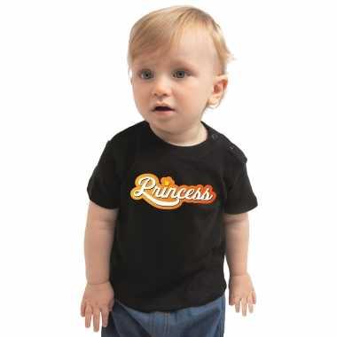 Goedkope koningsdag t shirt princess shirt voor babys zwart
