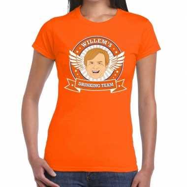 Goedkope koningsdag willem drinking team t shirt oranje dames
