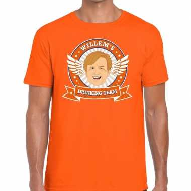 Goedkope koningsdag willems drinking team t shirt oranje heren