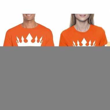 Goedkope koppel shirts koningsdag king & queen oranje dames en he