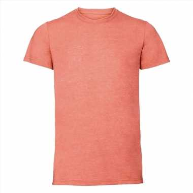 Goedkope koraal oranje heren t shirts met ronde