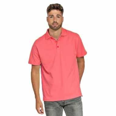Goedkope koraal roze poloshirt voor heren