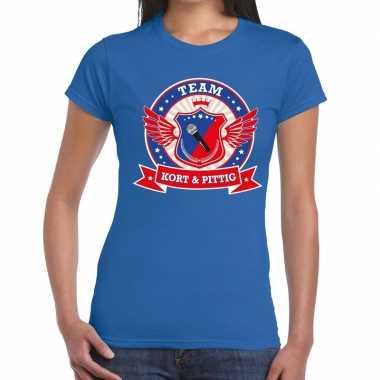 Goedkope kort en pittig team t shirt blauw dames