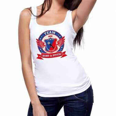 Goedkope kort en pittig team tanktop / mouwloos shirt wit dames