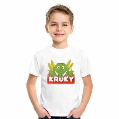 Goedkope krokodil dieren t shirt wit voor kinderen