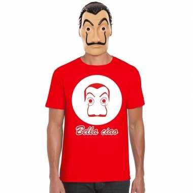 Goedkope la casa de papel masker inclusief rood dali t shirt voor her