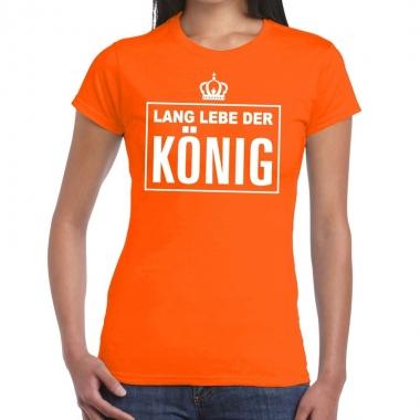Goedkope lang lebe der konig duitse tekst shirt oranje dames