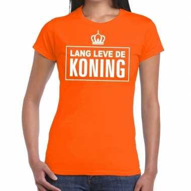 Goedkope lang leve de koning tekst shirt oranje dames