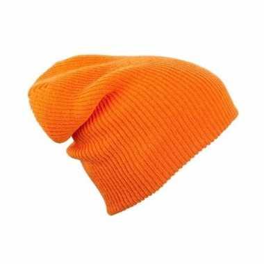 Goedkope lange beanie muts oranje voor dames