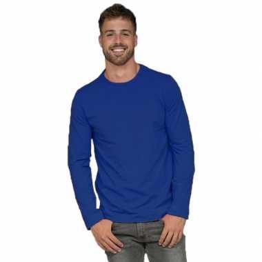 Goedkope lange mouwen stretch t shirt blauw voor heren