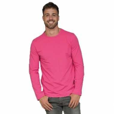 Goedkope lange mouwen stretch t shirt fuchsia roze voor heren