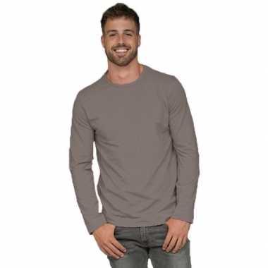 Goedkope lange mouwen stretch t shirt grijs voor heren