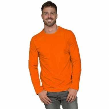 Goedkope lange mouwen stretch t shirt oranje voor heren