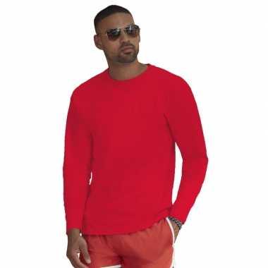 Goedkope lange mouwen stretch t shirt rood voor heren