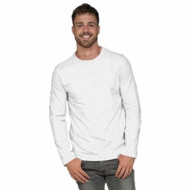 Goedkope lange mouwen stretch t shirt wit voor heren