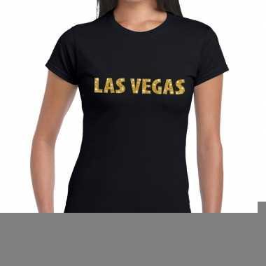Goedkope las vegas gouden letters fun t shirt zwart voor dames