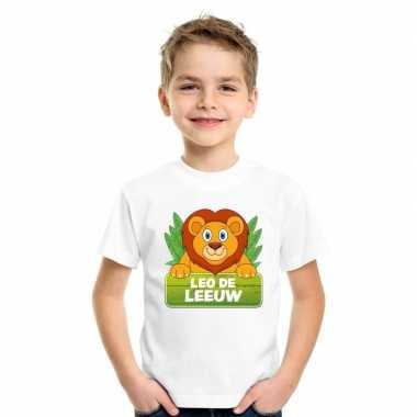Goedkope leeuwen dieren t shirt wit voor kinderen