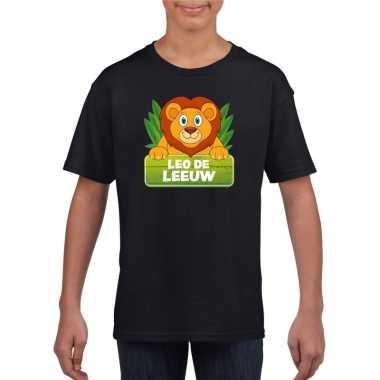 Goedkope leeuwen dieren t shirt zwart voor kinderen