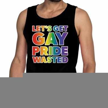 Goedkope lets get gay pride wasted tekst/fun shirt zwart heren