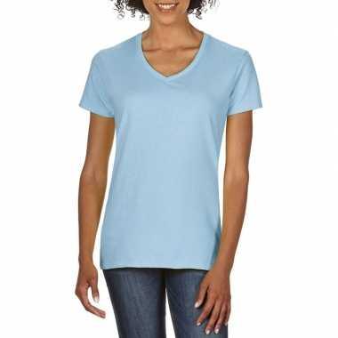 Goedkope licht blauwe dames casual t shirts met v hals