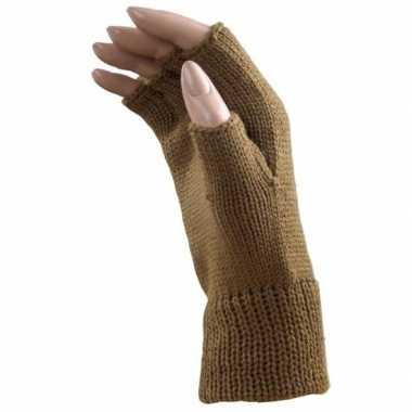 Goedkope licht bruine handschoenen zonder vingers voor volwassenen