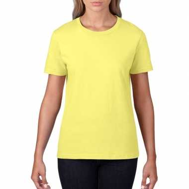 Goedkope licht gele dames casual t shirts met ronde hals