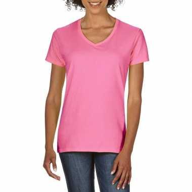 Goedkope licht roze dames casual t shirts met v hals