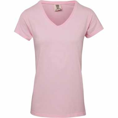 Goedkope licht roze dames t shirts met v hals