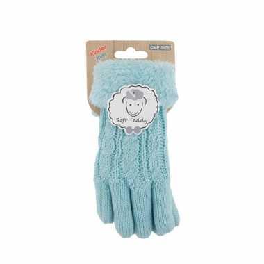 Goedkope lichtblauwe handschoenen gebreid teddy voor jongens/meisjes/kinderen
