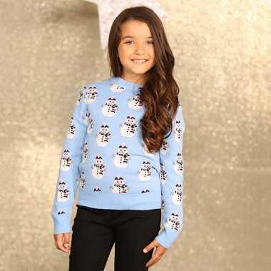 Goedkope lichtblauwe winter trui voor meiden