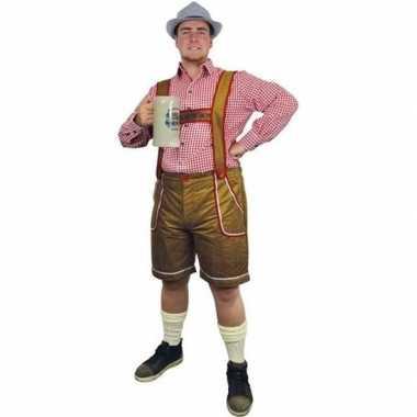 Goedkope lichtbruine bierfeest/oktoberfest broek verkleedkleren voor