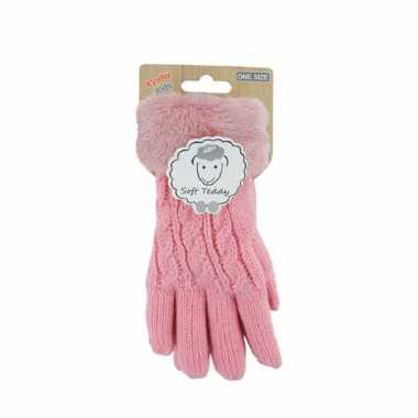 Goedkope lichtroze handschoenen gebreid teddy voor jongens/meisjes/kinderen