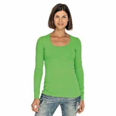 Goedkope limegroene longsleeve shirt met ronde hals voor dames