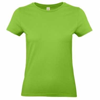 Goedkope limegroene shirt met ronde hals voor dames