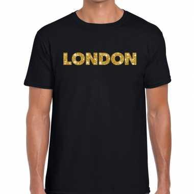 Goedkope london goud letters fun t shirt zwart voor heren