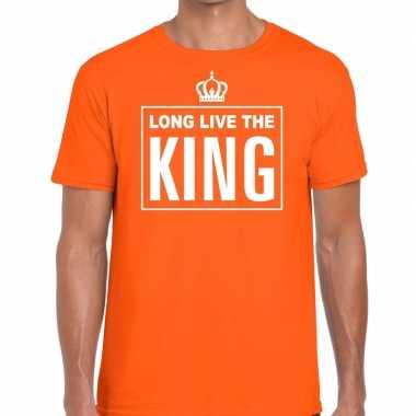 Goedkope long live the king engelse tekst shirt oranje heren