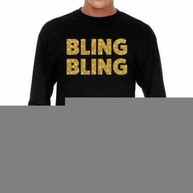 Goedkope long sleeve t shirt zwart met bling bling goud glitter bedru