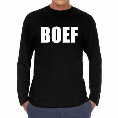 Goedkope long sleeve t shirt zwart met boef bedrukking voor heren
