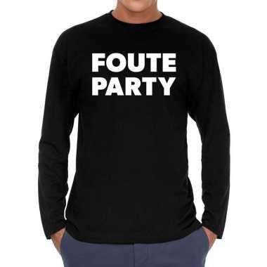 Goedkope long sleeve t shirt zwart met foute party bedrukking voor he