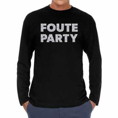 Goedkope long sleeve t shirt zwart met foute party zilver glitter bed