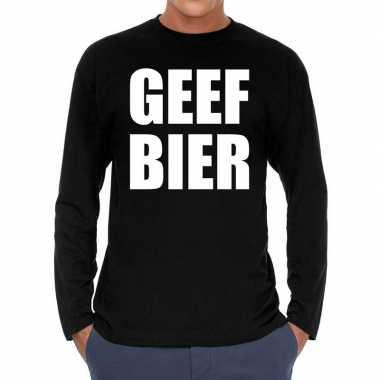 Goedkope long sleeve t shirt zwart met geef bier bedrukking voor here