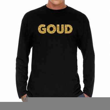 Goedkope long sleeve t shirt zwart met goud glitter bedrukking voor h