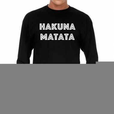 Goedkope long sleeve t shirt zwart met hakuna matata bedrukking voor