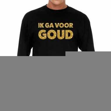 Goedkope long sleeve t shirt zwart met ik ga voor goud glitter bedruk