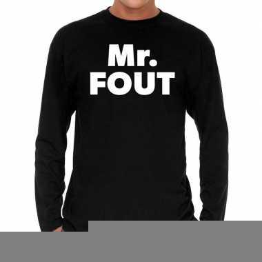 Goedkope long sleeve t shirt zwart met mr. fout bedrukking voor heren