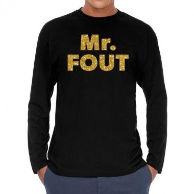Goedkope long sleeve t shirt zwart met mr. fout goud glitter bedrukki