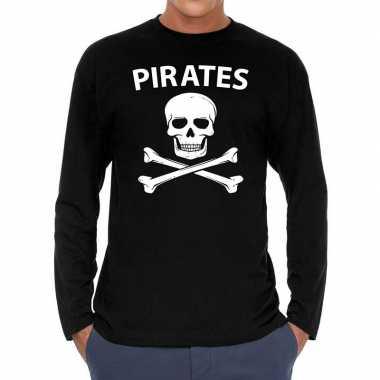 Goedkope long sleeve t shirt zwart met pirates bedrukking voor heren