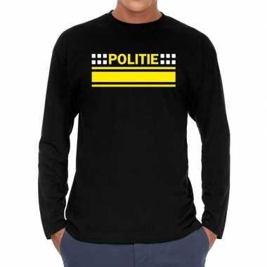 Goedkope long sleeve t shirt zwart met politie bedrukking voor heren