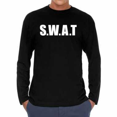 Goedkope long sleeve t shirt zwart met s.w.a.t. bedrukking voor heren